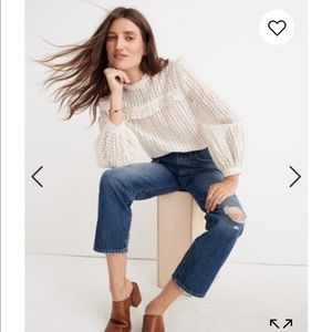 Madewell classic straight jeans knee rip edition.